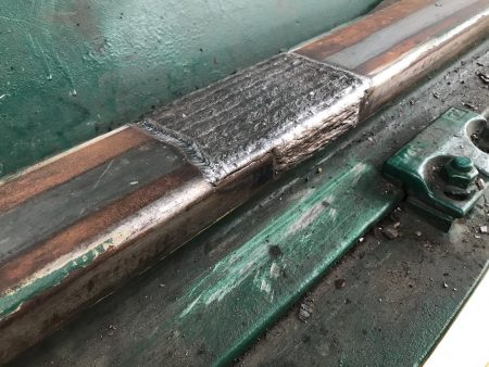 STS crane trolley rail weld repair