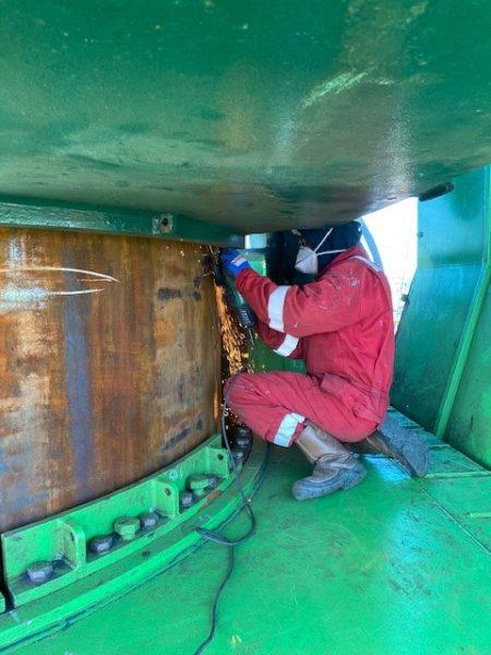 Repair works on spud poles